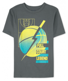 Childrens Place Grey Basketball Full Court Legend Graphic Tee
