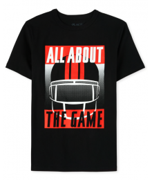 Childrens Place Black Football Graphic Tee