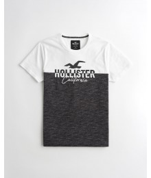 Hollister White And Dark Heather Grey Applique Logo Graphic Tee