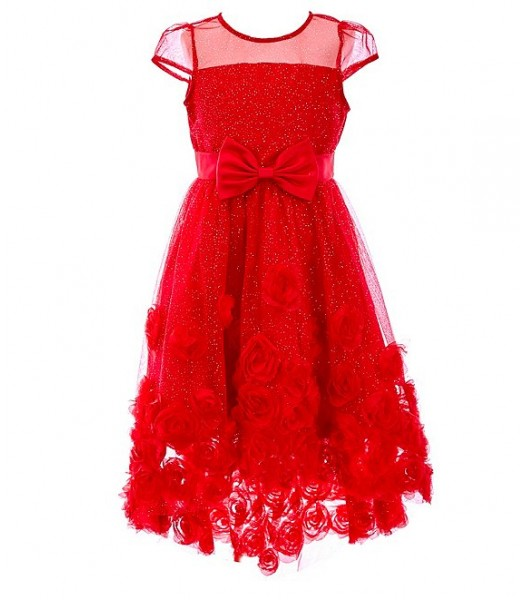 Rare Editions Red Illusion Glitter Mesh/ Soutache High Low Dress