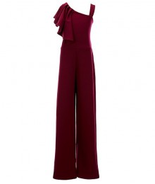 Rare Editions Burgundy Ruffle Shoulder Scuba Crepe Jumpsuit