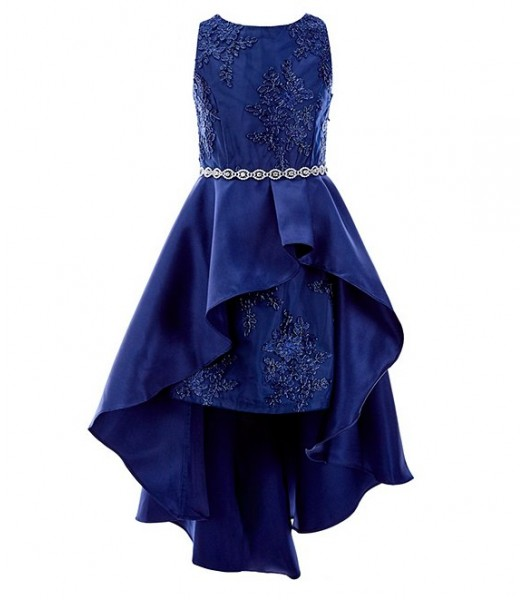 Rare Editions Navy Embroidered Mesh Mikado Asymetrical Overlay Hi-Low Dress
