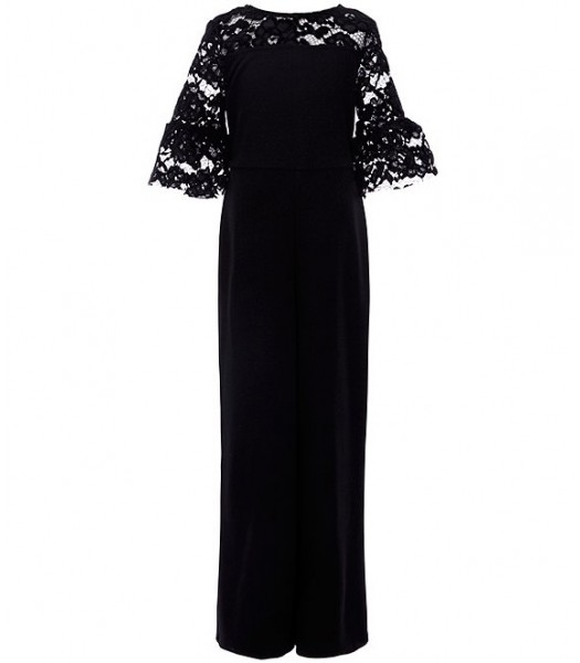 Xtraordinary Black Bell Sleeve Illusion Lace Jumpsuit