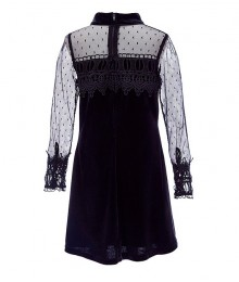 Rare Editions Black Long Sleeve Mock-Neck Velvet Illusion Shift Dress