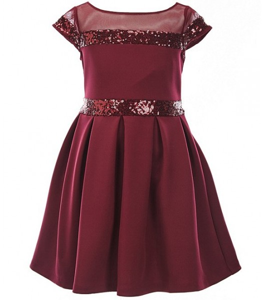 Bonnie Jean Burgundy Illusion Sequin-Trim Scuba Fit And Flare Dress