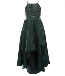 Poppies And Roses Green Sequin Tiered Hi-Low Ballgown