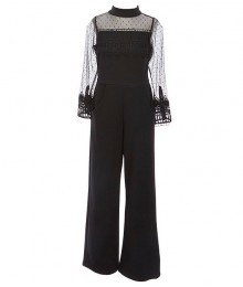 Rare Editions Black Long Sleeve Mock-Neck Illusion Mesh Lace Scuba Jumpsuit