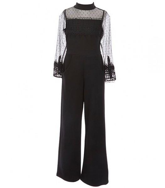 Rare Editions Black Long Sleeve Mock-Neck Illusion Mesh Lace Scuba Jumpsuit