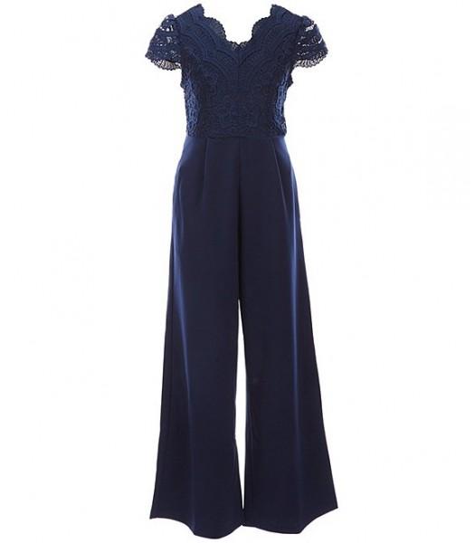 Rare Editions Navy Lace Scuba Crepe Jumpsuit
