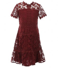 Gb Girls Maroon Floral Lace A Line Dress