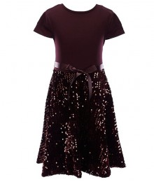 Xtraordinary Burgundy Velvet Sequin Fit And Flare Dress