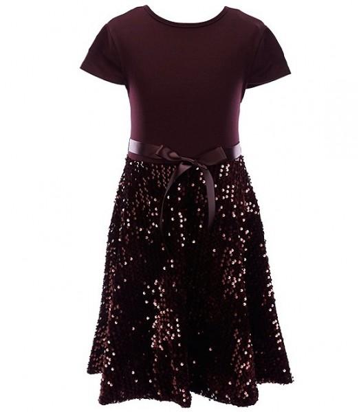 Xtraordinary Burgundy Velvet Sequin Fit And Flare Dress