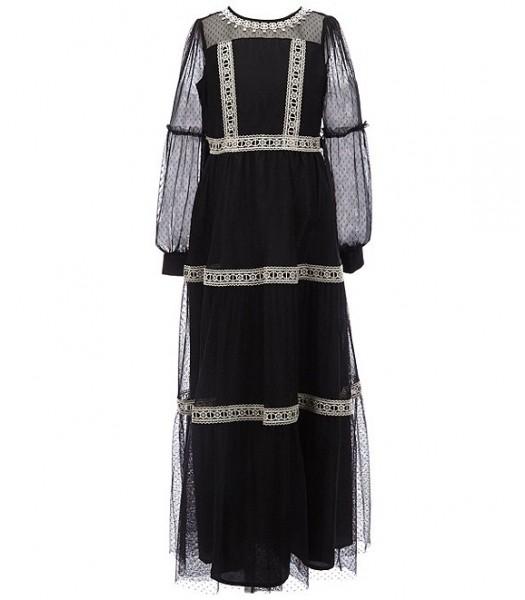 Us Angels Black Dotted Mesh Crochet Trim Maxi Dress