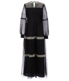 Us Angels Black Dotted Mesh Crochet Trim Maxi Dress