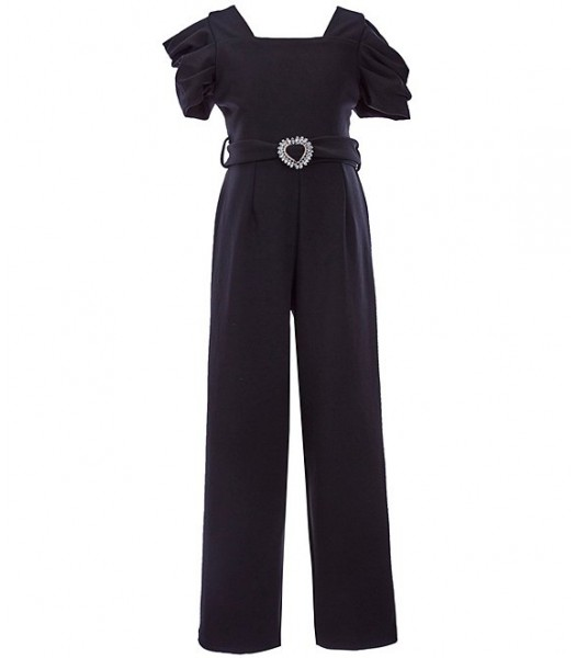 Rare Editions Black Puffed Sleeve Scupa Crepe Jumpsuit