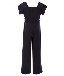 Rare Editions Black Puffed Sleeve Scupa Crepe Jumpsuit