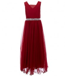 Xtraordinary Red Illusion Beaded Waist A-Line Dress