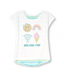 childrens place icelandic emb. stripe back hi-low girls tee