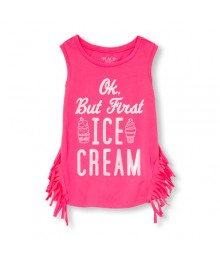 Childrens Place Neon berry sleeveless  Emb. side-fringe graphic gils tank top