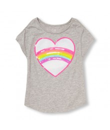 childrens place gray emb. cold-shoulder wt love print girls tee