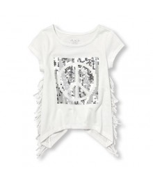 Childrens place white wt side fringe&sequence emb. sleeveless graphic girls tee