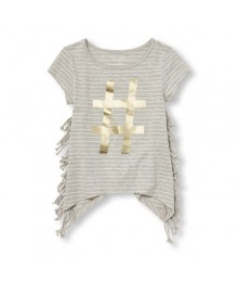 childrens place gray/white emb. striped side-fringe girls tee