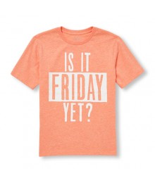 childrens place peach /white  is it friday yet graphic tee Little Boy