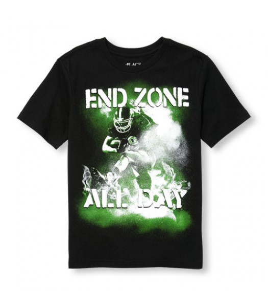 childrens place black end zone all day tee