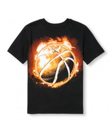 childrens place black flaming basketball tee Little Boy