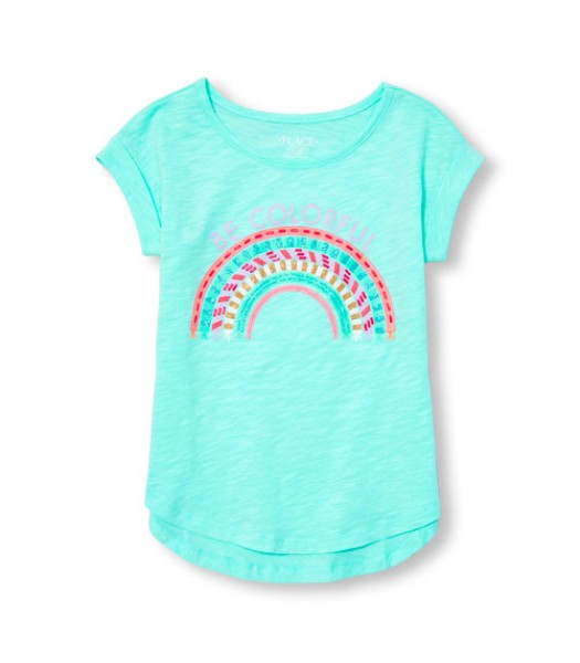 "childrens place turq/mint emb. wt be colorful"" girls hi-low tee"