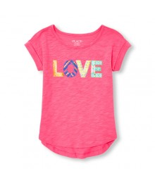 childrens place pink emb. rolled sleeve girls  hi-low tee