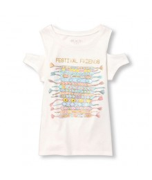 childrens place white emb. cold-shoulder graphic girls tee