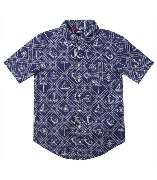 chaps blue/white anchor button down shirt