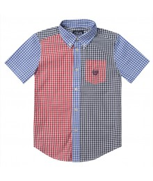 CHAPS MULTICOLOR SHORT SLEEVE CHECK SHIRT Little Boy