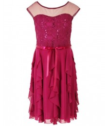 Speechless raspberry illusion sequin lace dress