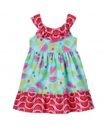 Youngland Turq/Multi Fruit Pattern Dress Little Girl