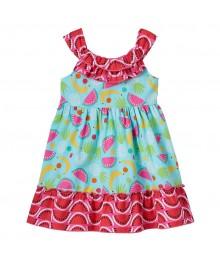 Youngland Turq/Multi Fruit Pattern Dress