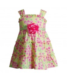 Kohls Youngland Yellow/Pink Floral Dress  Baby Girl