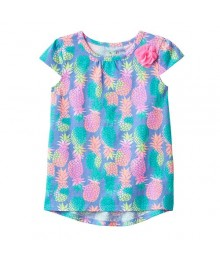 Jumping Beans Green/Pink Multi High Low Tunic  Little Girl
