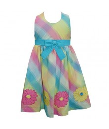 Blueberi Blue/Green/Pink Multi Dress Little Girl