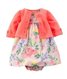 Carters Pink Bodysuit Dress And Cardigan Set