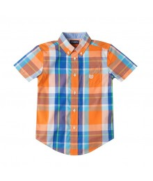 Chaps Orange Multi Short Sleeve Plaid Shirt  Little Boy