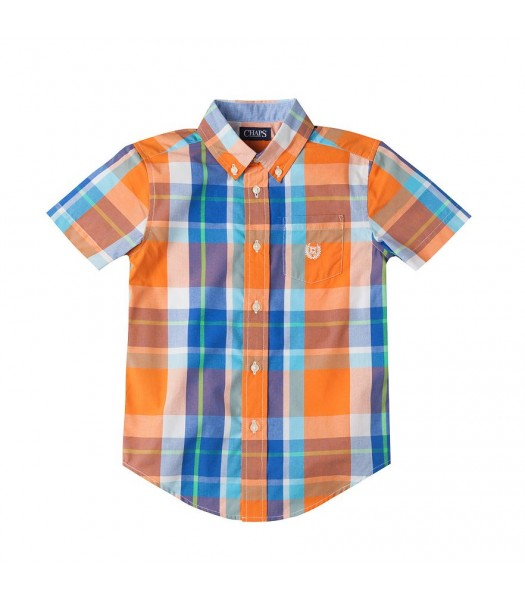 Chaps Orange Multi Short Sleeve Plaid Shirt