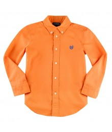 Chaps Orange Solid Oxford L/S Shirt  Little Boy