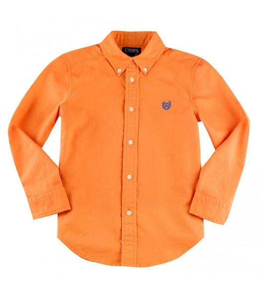 Chaps Orange Solid Oxford L/S Shirt