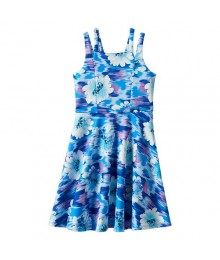 Speechless Blue Purple Floral Skater Dress Big Girl