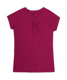French Toast Pink V Neck Tee  Big Girl