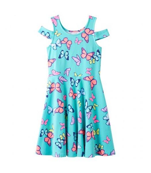 so cold green butterflyshoulder graphic dress