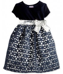 Blueberi boulevard navy/silver floral lace girls dress  Little Girl