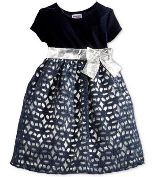 Blueberi boulevard navy/silver floral lace girls dress